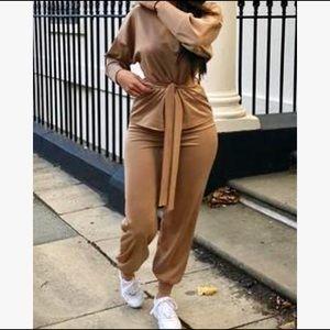 Camel Boxy Long Sleeved Tie Loungewear Set